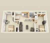 3D Floor Plan - 1 Bedroom